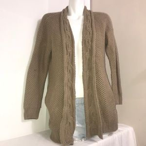 Forever 21 Beige Tan Cable Knit Cardigan Sweater